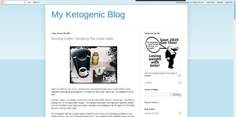 screen shot of a keto diet blog.