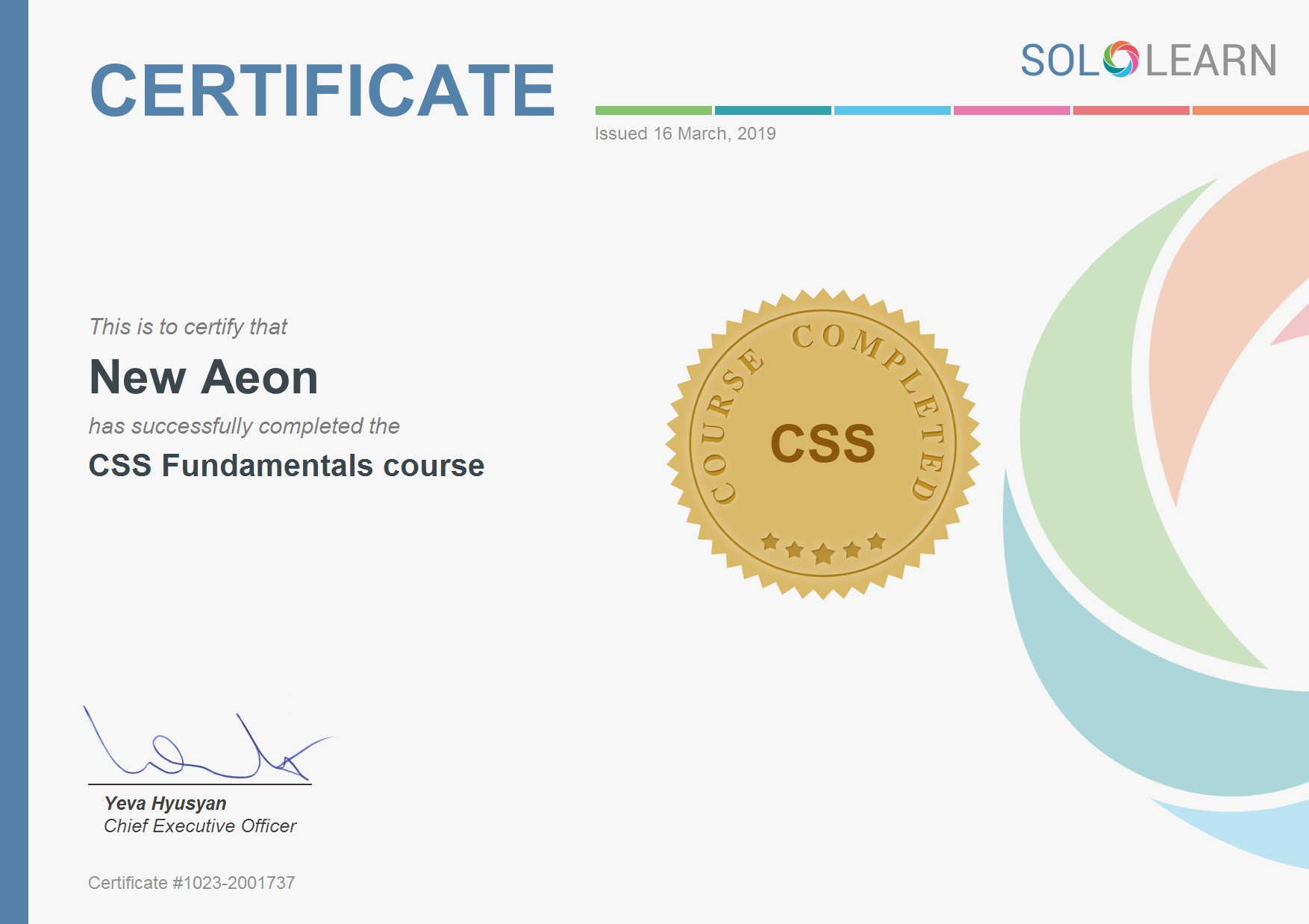 css certification award