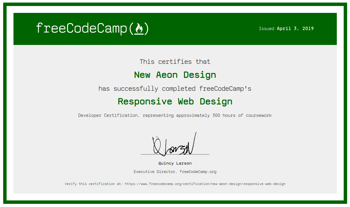 certificate of course completion html5 and css3